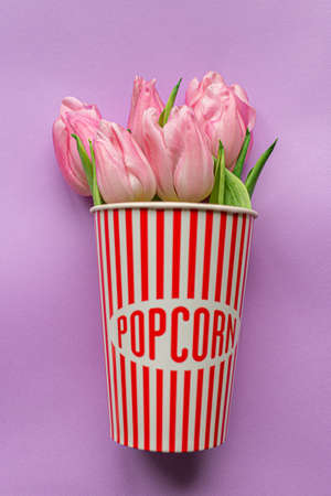 Tender pink tulips inside of red striped popcorn cup on pastel violet background. Greeting card for Women's day. Flat lay. Copy space. Place for text. Concept of international women's day, mother's day, easter. Valentines love day 免版税图像