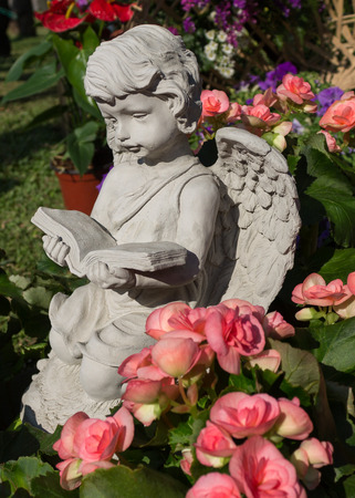 eros: The little cupid was reading a book and surrounded by the beautiful flowers.