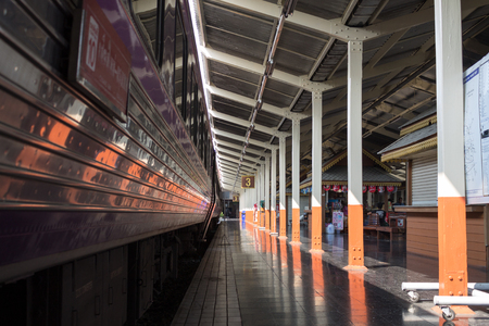 waiting passengers: The trains are parked at the railway station for waiting passengers. February, 18-2016  Chiang Mai, Thailand.