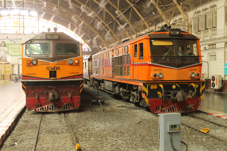 waiting passengers: The trains are parked at the railway station for waiting passengers. February, 22-2016 Bangkok, Thailand.