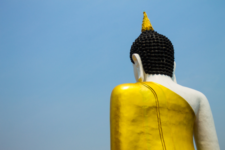 cleared: The back of Buddha image isolated from cleared sky. Stock Photo