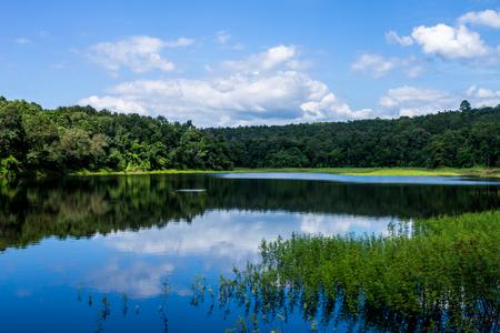 lack of water: beautiful lake Stock Photo