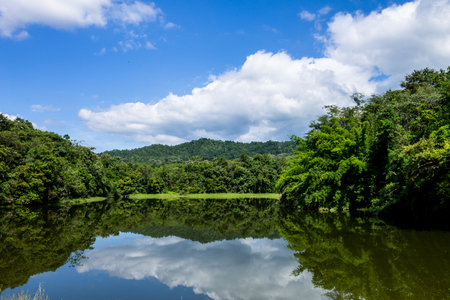 needing: ChiangMai, Thailand. November, 03-2016: The available quantity of water has been reserved at the irrigation pond as the reasons of needing for agricultural purposes in remote districts.