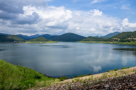 reasons: The available quantity of water has been reserved at the irrigation dam as the reasons of needing for agricultural purposes in remote districts. Stock Photo