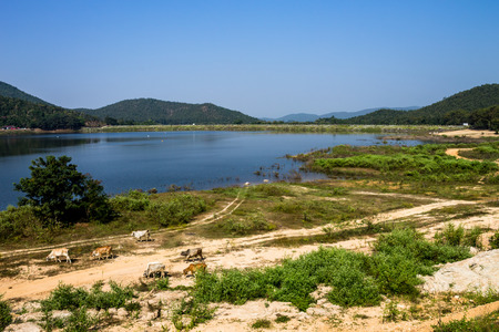 ChiangMai, Thailand. December, 07-2016: The inadequacy of water reservoir was shown in its low level at the irrigation dam. Stock Photo