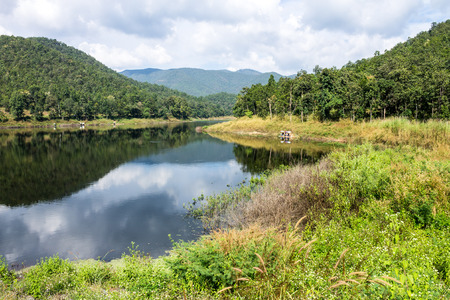 lack of water: ChiangMai, Thailand. December, 03-2016: The available quantity of water has been reserved at the irrigation dam as the reasons of needing for agricultural purposes in remote districts.