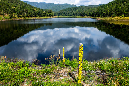 ChiangMai, Thailand. December, 03-2016: The available quantity of water has been reserved at the irrigation dam as the reasons of needing for agricultural purposes in remote districts.