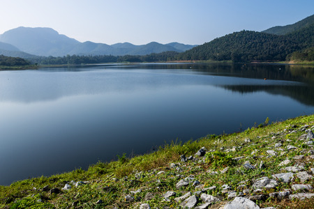 lack of water: ChiangMai, Thailand. December, 07-2016: The available quantity of water has been reserved at the irrigation dam as the reasons of needing for agricultural purposes in remote districts. Stock Photo