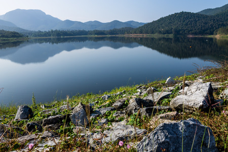 ChiangMai, Thailand. December, 07-2016: The available quantity of water has been reserved at the irrigation dam as the reasons of needing for agricultural purposes in remote districts. Stock Photo