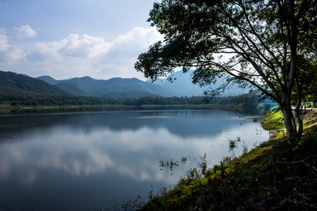 needing: ChiangMai, Thailand. December, 07-2016: The available quantity of water has been reserved at the irrigation dam as the reasons of needing for agricultural purposes in remote districts. Stock Photo