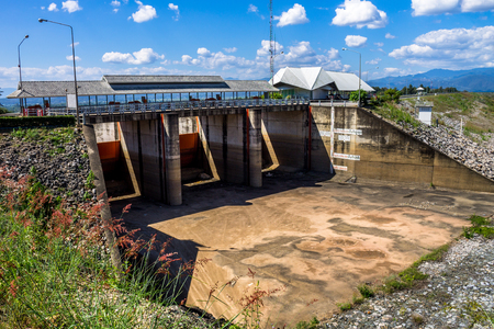 lack of water: ChiangMai, Thailand. January, 26-2017: The floodgate of the dam has been drought due to lack of water.