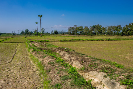 ChiangMai, Thailand. January, 19-2017: The irrigation canal for agriculture purposes was dry due to global warming .