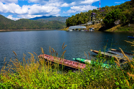 ChiangMai, Thailand. January, 26-2017: The available quantity of water has been reserved at the irrigation dam as the reasons of needing for agricultural purposes in remote districts. Stock Photo
