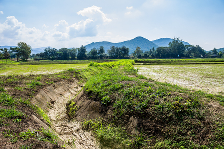 in the suburbs: The irrigation canal for agriculture purposes was dry due to global warming . Stock Photo