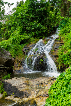 ChiangMai, Thailand. October, 07-2016: Huay Kaew water fall flows down from top of the Suthep mountain.