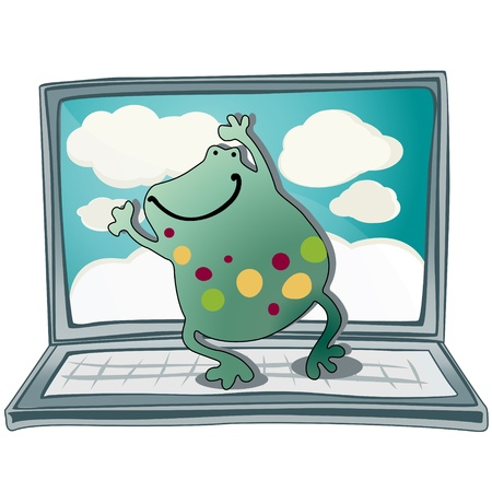 Frog Dancing on a laptop