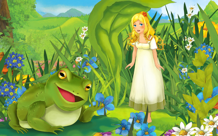 cartoon scene with young beautiful girl frog on the meadow - illustration for children