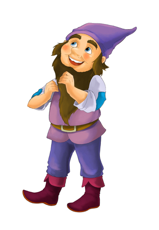 happy and funny illustration of fantasy dwarf character