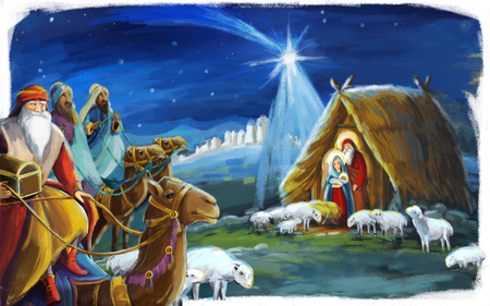 traditional christmas scene with holy family and three kings for different usage - illustration for children Banco de Imagens - 113453224