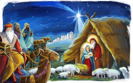 Escena navideña tradicional con la Sagrada Familia y los Reyes Magos para diferentes usos - ilustración para niños Foto de archivo