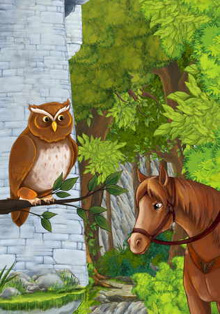 cartoon scene some stone tower in the deep forest with owl sitting and looking - illustration for children