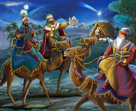 ilustración religiosa tres reyes - y sagrada familia - escena tradicional - ilustración para niños