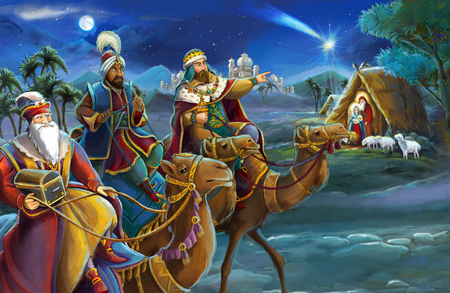 religious illustration three kings - and holy family - traditional scene - illustration for children