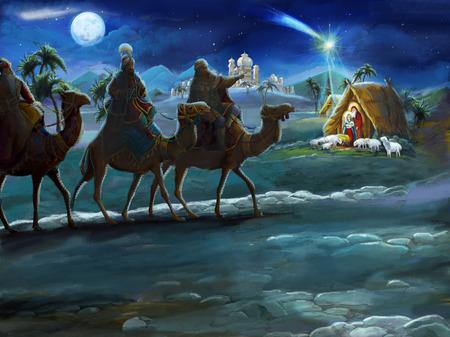 ilustración religiosa tres reyes - y sagrada familia - escena tradicional - ilustración para niños Foto de archivo