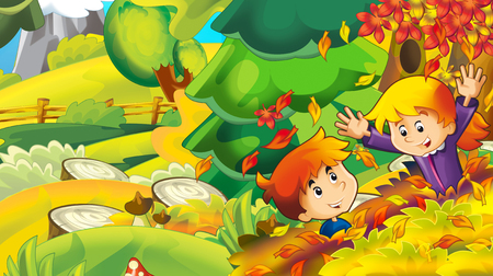 cartoon autumn nature background with girl and boy gathering mushrooms - illustration for children