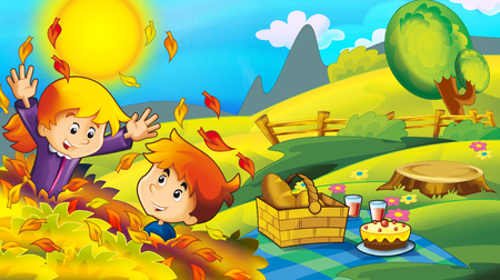 cartoon happy and funny scene with kids in the park having fun and picnic - illustration for children Фото со стока