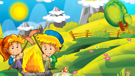 cartoon autumn nature background in the mountains with space for text - illustration for children