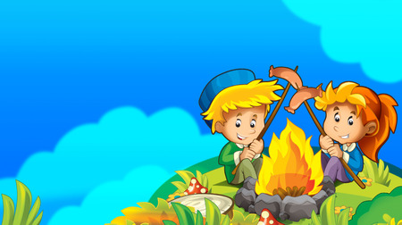 cartoon summer background with space for text - illustration for children