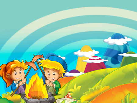 cartoon summer or spring nature background with space for text - illustration for children