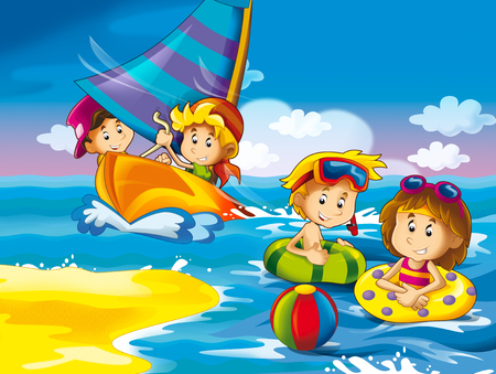 kids playing at the beach having fun by the sea or ocean - illustration for children Stok Fotoğraf