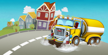cartoon summer scene with cleaning cistern car driving through the city - illustration for children 写真素材