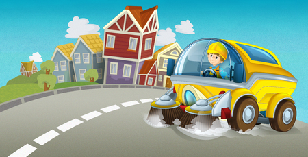 cartoon summer scene with cleaning car driving through the city - illustration for children