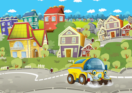 cartoon summer scene with cleaning cistern car driving through the city - illustration for children Фото со стока