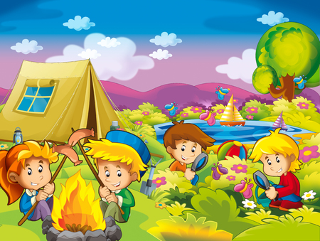 cartoon autumn nature background near the lake in the mountains kids having camping with space for text - illustration for children