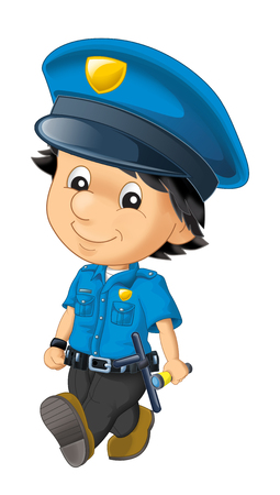 cartoon scene with happy policeman on duty on white background - illustration for children 版權商用圖片