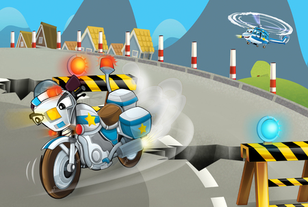 cartoon scene with police motorcycle driving through the city policeman - illustration for children