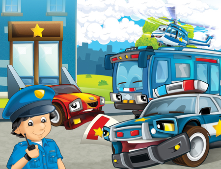 cartoon scene with police motorcycle car and bus driving through the city helicopter flying and policeman near police station - illustration for children Фото со стока