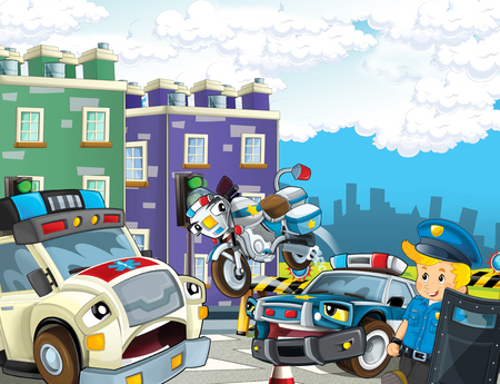 cartoon scene with police car motor and policeman on patrol and ambulance - illustration for children