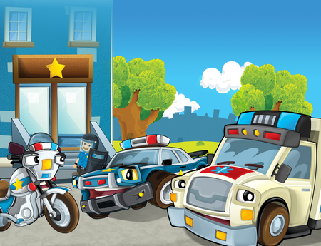 cartoon scene with police car and sports car car at city police station and ambulance - illustration for children