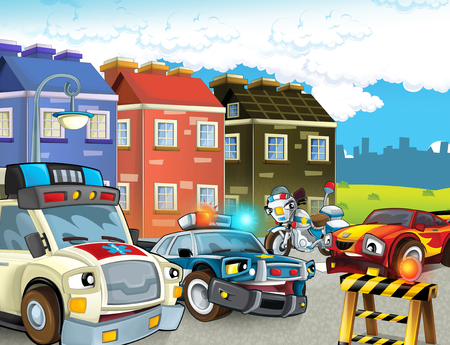 cartoon scene with police chase motorcycle and car driving through the city helicopter flying and ambulance - illustration for children