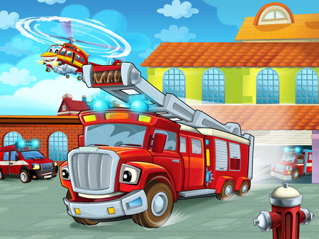 cartoon firetruck driving out of fire station to action - different fireman vehicles - illustration for children Stock Photo