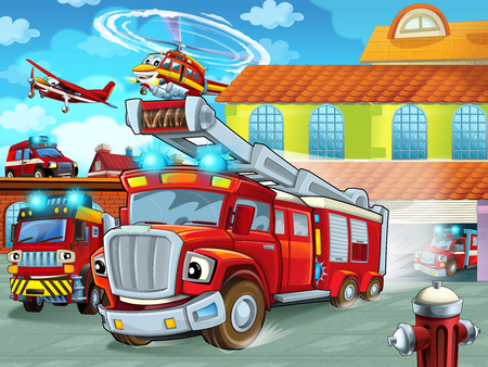 cartoon firetruck driving out of fire station to action - different fireman vehicles - illustration for children Фото со стока