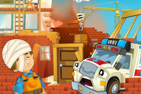 cartoon illustration with ambulance truck at work helping on accident on construction site - illustration for children Zdjęcie Seryjne