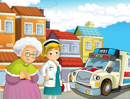 cartoon scene with older lady not feeling well and ambulance and doctor coming to help - illustration for children