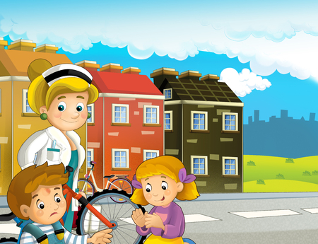 cartoon scene with pair of kids after bicycle accident with doctor - illustration for children Reklamní fotografie