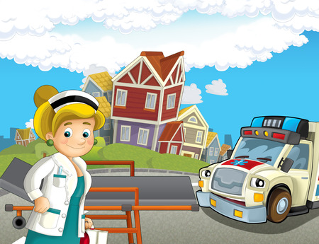 cartoon scene in the city with doctor car happy ambulance - illustration for children